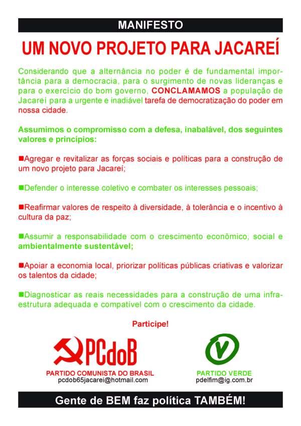 "Manifesto ""Novo Projeto Para Jacareí"""